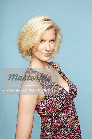Portrait of beautiful mature blonde woman wearing pretty dress Stock Photo - Rights-Managed, Image code: 847-03862629