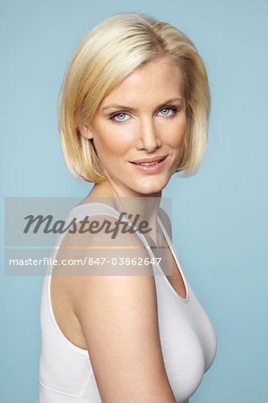 Portrait of beautiful mature blonde woman with glossy hair Stock Photo - Rights-Managed, Image code: 847-03862647