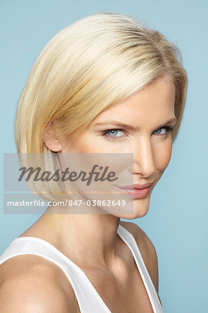 Close up of beautiful mature blonde woman with glossy hair Stock Photo - Rights-Managed, Image code: 847-03862649