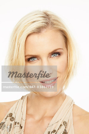 Portrait of beautiful mature blonde woman wearing make-up Stock Photo - Rights-Managed, Image code: 847-03862739