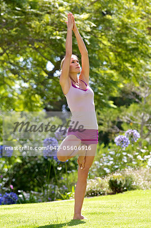 Beautiful mature woman performing yoga outside Stock Photo - Rights-Managed, Image code: 847-05606916