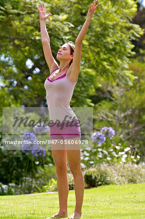 Beautiful mature woman performing yoga outside Stock Photo - Rights-Managed, Image code: 847-05606928