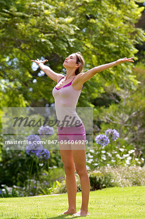 Beautiful mature woman performing yoga outside Stock Photo - Rights-Managed, Image code: 847-05606929