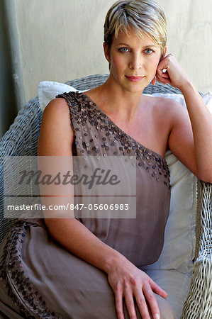 Portrait of elegant, mature woman in evening dress Stock Photo - Rights-Managed, Image code: 847-05606983
