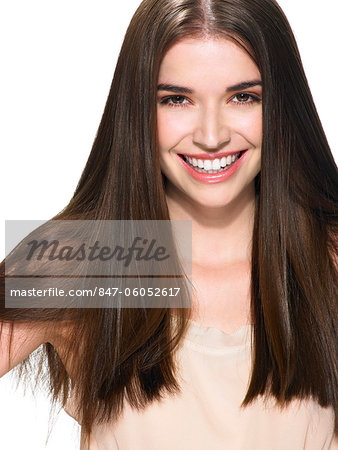 Portrait of a beautiful brunette Stock Photo - Rights-Managed, Image code: 847-06052617