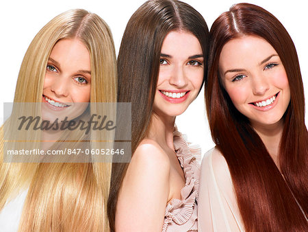 Three friends with beautiful hair Stock Photo - Rights-Managed, Image code: 847-06052646