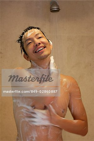 A man in the shower Stock Photo - Rights-Managed, Image code: 849-02860887