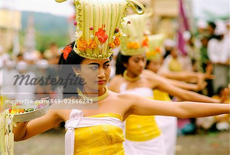 Indonesia, Bali, Kintamani, Performers during Rejang Dance Stock Photo - Rights-Managed, Image code: 849-02866243
