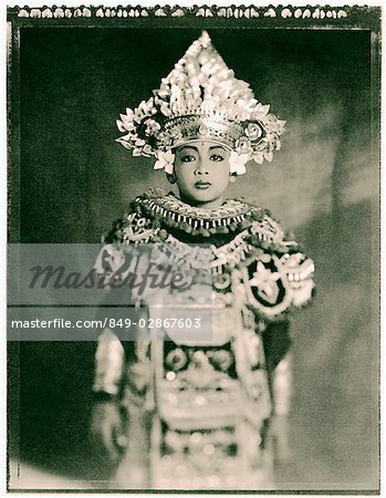 Indonesia, Bali, Amlapura, Baris dancer in full costume. Stock Photo - Rights-Managed, Image code: 849-02867603