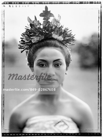 Indonesia, Bali, Ubud, Pendet dancer waiting to perform. Stock Photo - Rights-Managed, Image code: 849-02867608