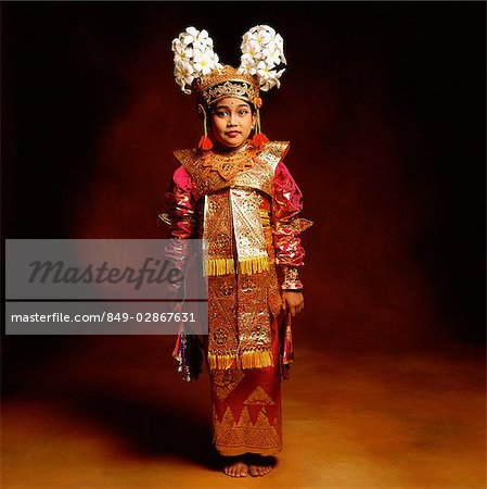 Indonesia, Bali, Ubud, Legong dancer in full costume. Stock Photo - Rights-Managed, Image code: 849-02867631