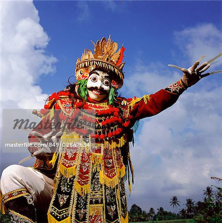 Indonesia, Bali, Ubud, Mask (Topeng) dancer performing. Stock Photo - Rights-Managed, Image code: 849-02867634