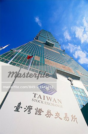 Taiwan,Taipei,Taiwan Stock Exchange Sign and Taipei 101 Skyscraper (1667 feet) Stock Photo - Rights-Managed, Image code: 849-03645212