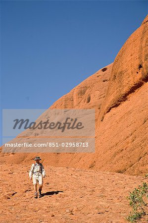 Man hiking at the Olgas,Kata Tjuta,Northern Territory,Australia Stock Photo - Rights-Managed, Image code: 851-02958713