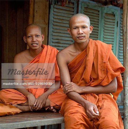 Two Buddhist monks,Phnom Penh,Cambodia Stock Photo - Rights-Managed, Image code: 851-02959030