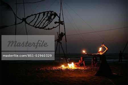 Fireworks on the beach at sunset,Arambol,Goa,India Stock Photo - Rights-Managed, Image code: 851-02960329
