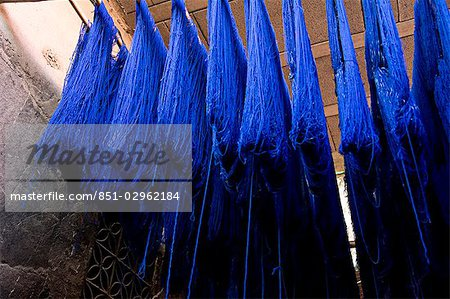 Blue dyed cloth hanging up to dry in souks of Marrakesh,Morocco Stock Photo - Rights-Managed, Image code: 851-02962184