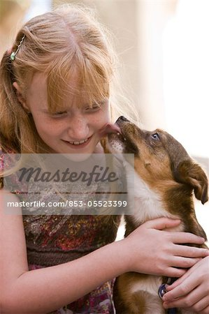 Dog licking girl's face Stock Photo - Rights-Managed, Image code: 853-05523399