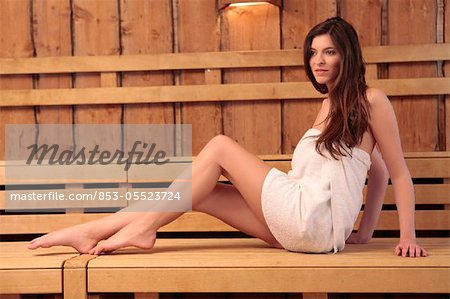 Young woman in sauna Stock Photo - Rights-Managed, Image code: 853-05523724