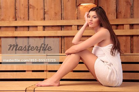 Young woman in sauna Stock Photo - Rights-Managed, Image code: 853-05523725