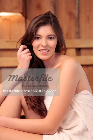 Young woman in sauna Stock Photo - Rights-Managed, Image code: 853-05523727