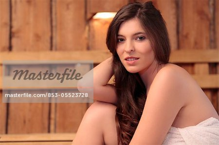 Young woman in sauna Stock Photo - Rights-Managed, Image code: 853-05523728