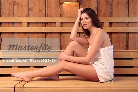 Young woman in sauna Stock Photo - Rights-Managed, Image code: 853-05523729