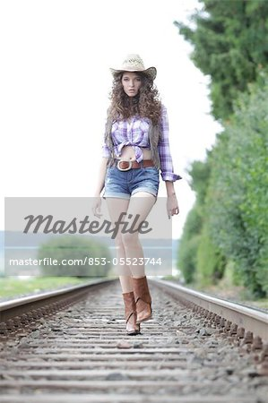 Young woman as cowgirl Stock Photo - Rights-Managed, Image code: 853-05523744
