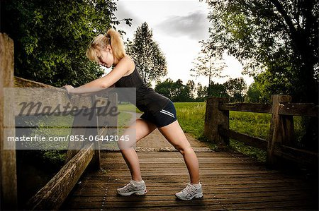 Young woman doing fitness training Stock Photo - Rights-Managed, Image code: 853-06442045
