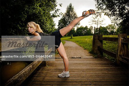 Young woman doing fitness training Stock Photo - Rights-Managed, Image code: 853-06442047
