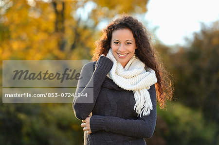 Smiling young woman in autumn, portrait Stock Photo - Rights-Managed, Image code: 853-07241944