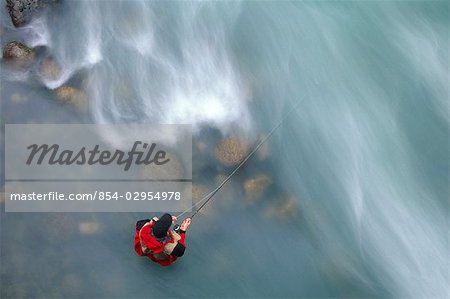 Man Fly Fishing in Little Susitna River Hatcher Pass Stock Photo - Rights-Managed, Image code: 854-02954978