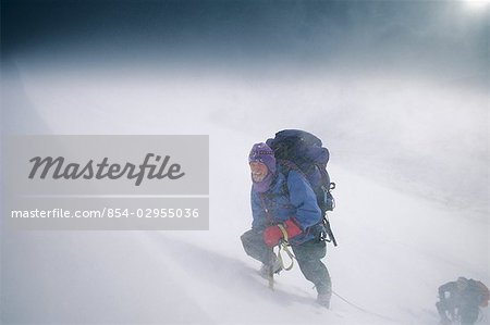 Mountain Climbers Climbing Up Chugach Mts SC AK Storm Winter Frosted face Stock Photo - Rights-Managed, Image code: 854-02955036
