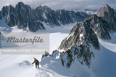 Mountaineer climbing on narrow ridge in Kichatna Mtns Denali National Park Interior Alaska Winter Stock Photo - Rights-Managed, Image code: 854-02955045