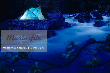 Lighted Tent by Liberty Creek @ Night Southcentral Alaska/nsummer Stock Photo - Rights-Managed, Image code: 854-02955077