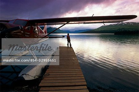 Fisherman Chelatna Lake Lodge Floatplane Docked Alaska Range Interior Summer Scenic Stock Photo - Rights-Managed, Image code: 854-02955651