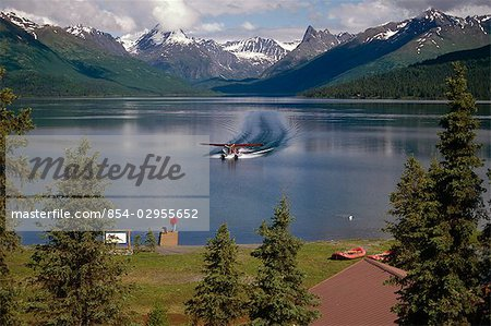 Floatplane Landing Chelatna Lake / Lodge Interior AK Alaska Range Summer Stock Photo - Rights-Managed, Image code: 854-02955652