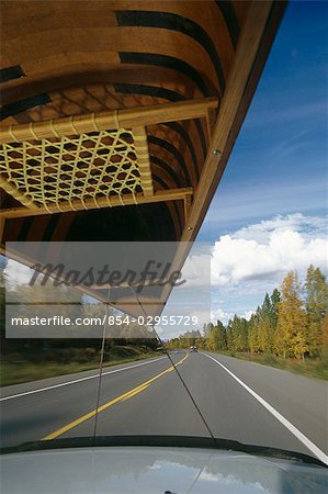 Car Drives on Highway w/ Canoe Fall SC AK /nDrivers Perspective Stock Photo - Rights-Managed, Image code: 854-02955729