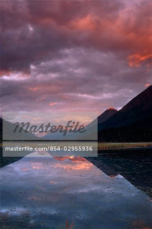 Sunset Tern Lake Kenai Mts Kenai Peninsula AK Summer Reflection