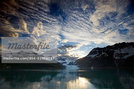 Surprise Glacier at sunset Harriman Fjord PWS Southcentral Alaska summer Stock Photo - Rights-Managed, Image code: 854-02956097