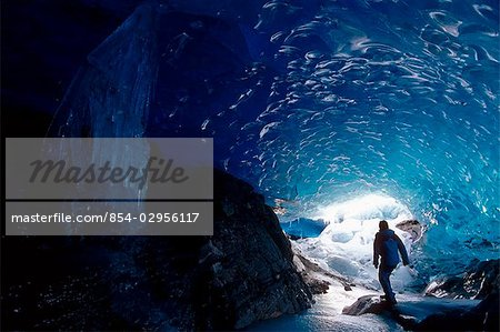 Hiker Mendenhall Glacier Exploring Ice Cave AK Southeast Stock Photo - Rights-Managed, Image code: 854-02956117