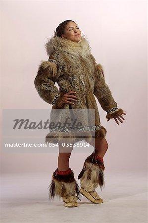 Stock Photo - Native Alaskan Inupiat Woman in Wolf Fur Coat in Studio ...