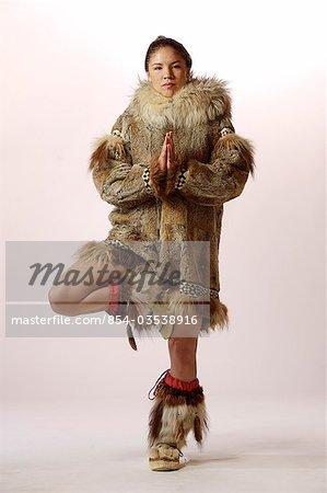 ... Photo - Native Alaskan Inupiat Woman in Wolf Fur Coat in Studio Alaska