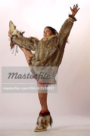 Stock Photo - Native Alaskan Inupiat Woman in Wolf Fur Coat in Studio ...