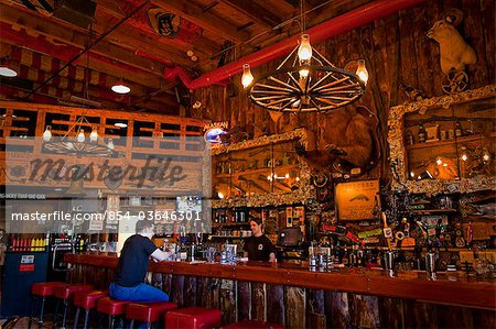 Tourist sits at the bar of the Red Dog Saloon in Juneau, Southeast Alaska, Summer Stock Photo - Rights-Managed, Image code: 854-03646301