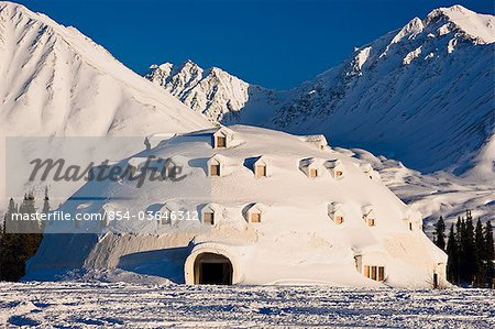 View of Igloo City, a uniquely Alaskan architectural icon located along the George Parks Highway near Broad Pass, Southcentral Alaska, Winter Stock Photo - Rights-Managed, Image code: 854-03646312