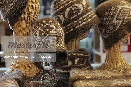 Display of hand knitted Qiviut hats at the Oomingmak Musk Ox Producers' Co-operative in Downtown Anchorage, Southcentral Alaska, Summer/n Stock Photo - Rights-Managed, Image code: 854-03646341