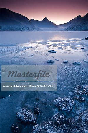 Close up of the frozen surface of Portage Lake at dawn in the Chugach National Forest, Southcentral Alaska, Winter Stock Photo - Rights-Managed, Image code: 854-03646726