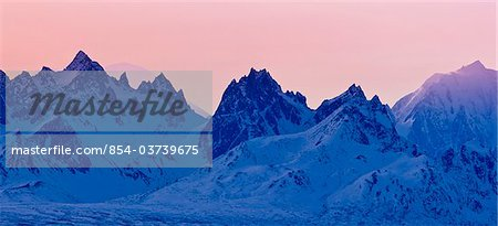 Panoramic view of sunset over the Alaska Range in Denali State Park, Southcentral Alaska, Winter Stock Photo - Rights-Managed, Image code: 854-03739675