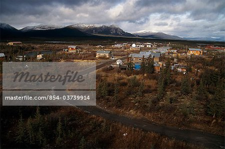 View overlooking Arctic Village with Brooks Range in the background, Arctic Alaska, Autumn Stock Photo - Rights-Managed, Image code: 854-03739914